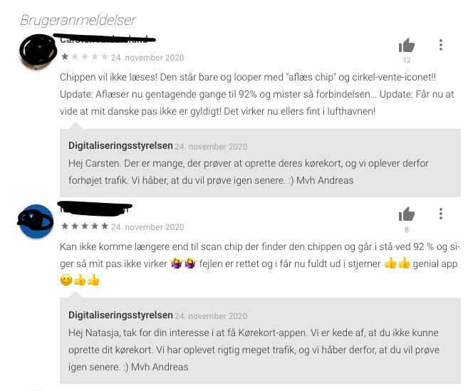 Et par brugere der har problemer med kørekort appen. Der er en del i Google Play Store (Foto: MereMobil.d)