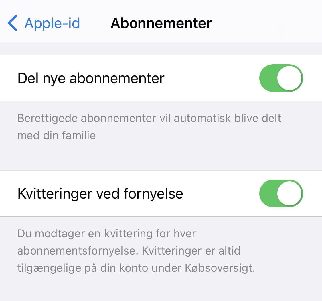 Apple har nu gjort det muligt for brugere, der benytter Familie-deling, at dele abonnementer og in-app køb (Foto: MereMobil.dk)