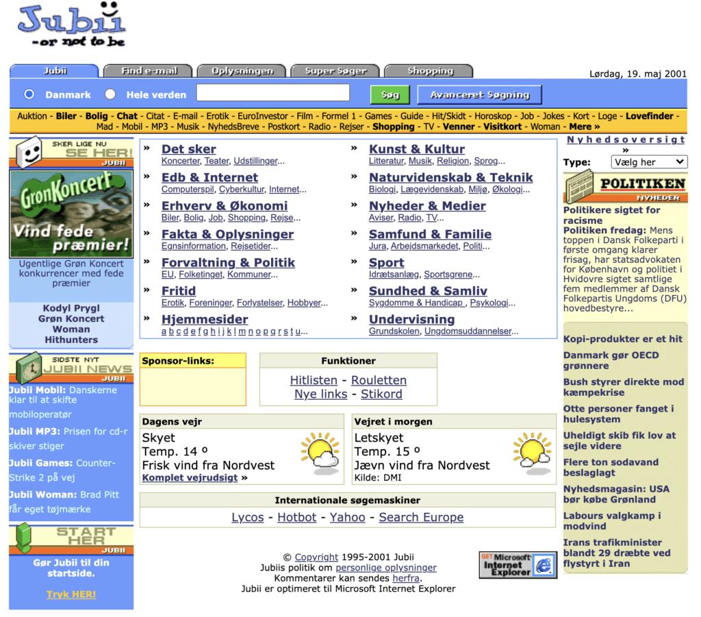 Jubii website 2001