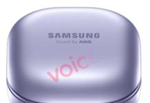 Det der ventes at være Samsung Galaxy Buds Pro er afsløret i en violet farve (Kilde: Evan Blass / Voice)