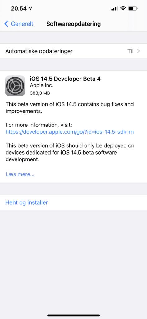 iOS 14.5 developer beta 4 (Foto: MereMobil.dk)