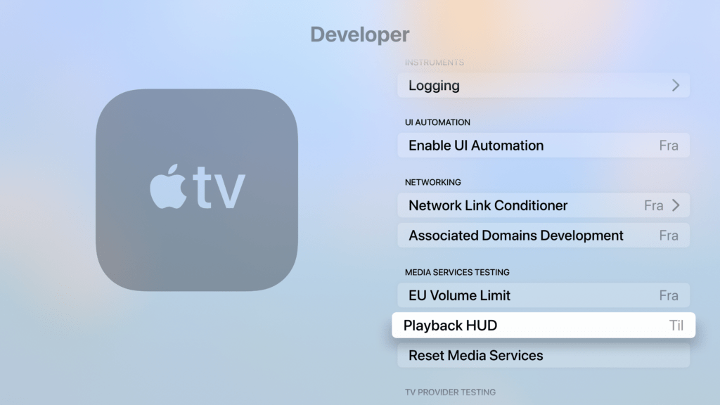 Udvikler-menuen på Apple TV 4K (Foto: MereMobil.dk)