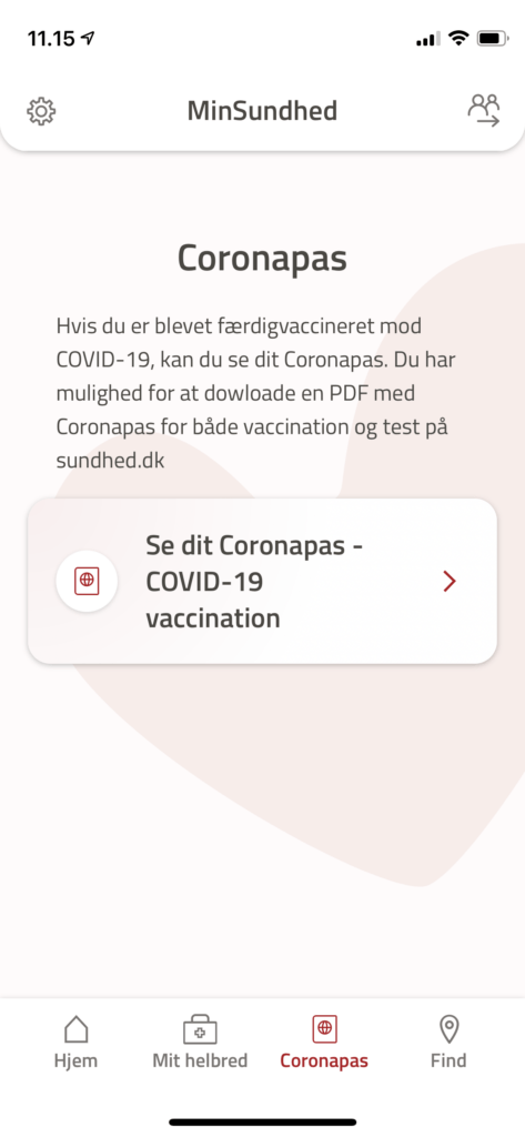 I slutningen af marts bliver det muligt at finde et midlertidigt coronapas på MinSundhed-appen
