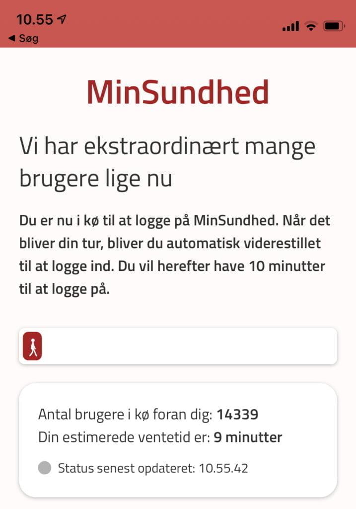 """Der er nu kommet """"kø-system"""" på MinSundhed-appen efter nedbrud denne morgen (red. 23. marts 2021)"""