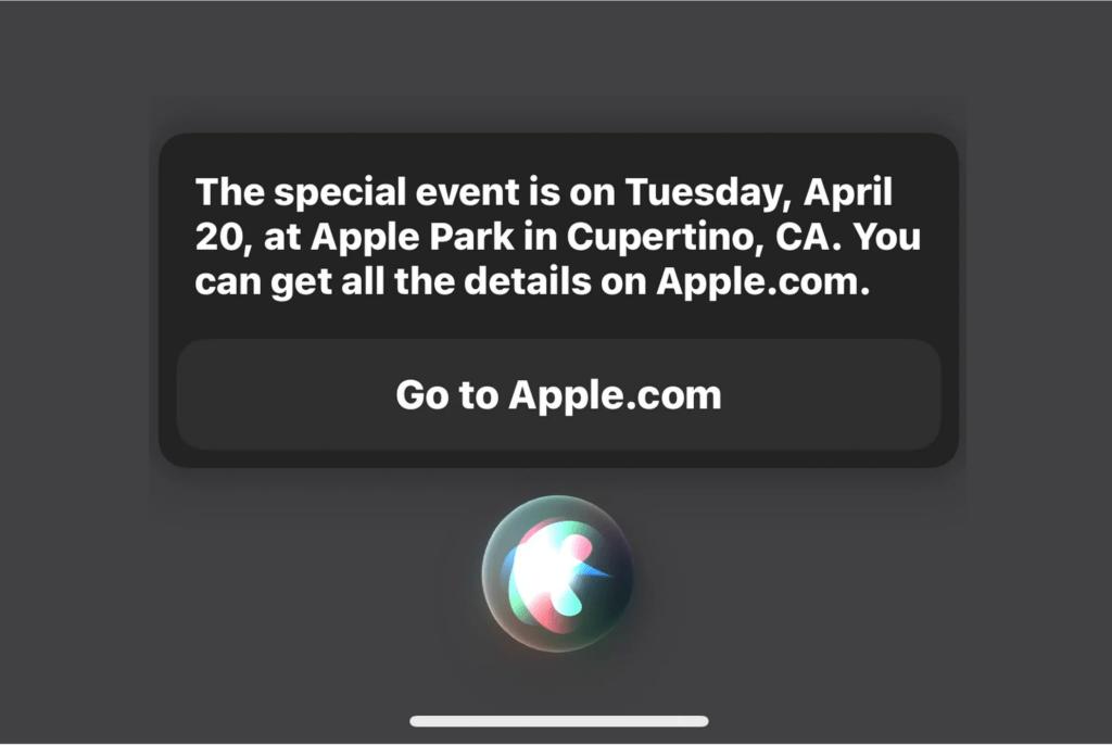 Dette svar fik MacRumors af Siri, da de spurgte hvornår Apples næste event er (Kilde: MacRumors)