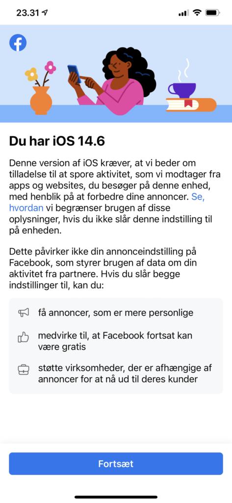 App Tracking feature giver advarsel fra Facebook (Foto: MereMobil.dk)