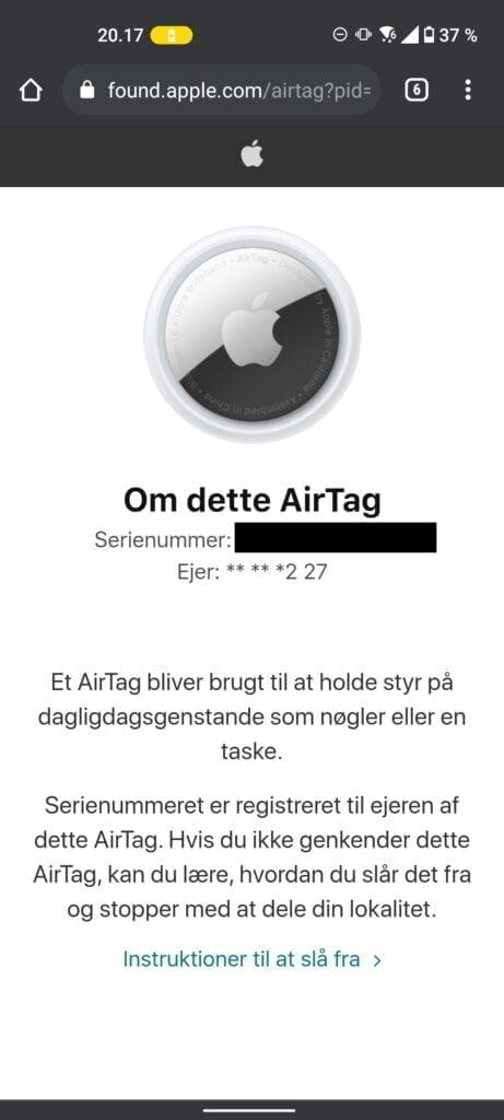 NFC-chip finder AirTag oplysninger (Foto: MereMobil.dk)