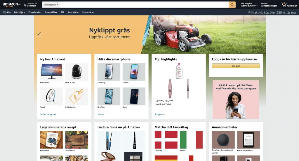 """Amazon.se har haft stor succes, selvom der var lidt problemer i opstarten. Måske Danmark er næste """"skridt"""" på vejen. Eksperter spår Amazon er klar i Danmark i efteråret 2021"""