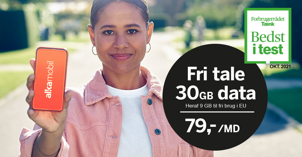 """Alka Mobil kåret som """"bedst i test"""" af Forbrugerrådet Tænk for et af deres abonnementer (Kilde: Alka Mobil)"""